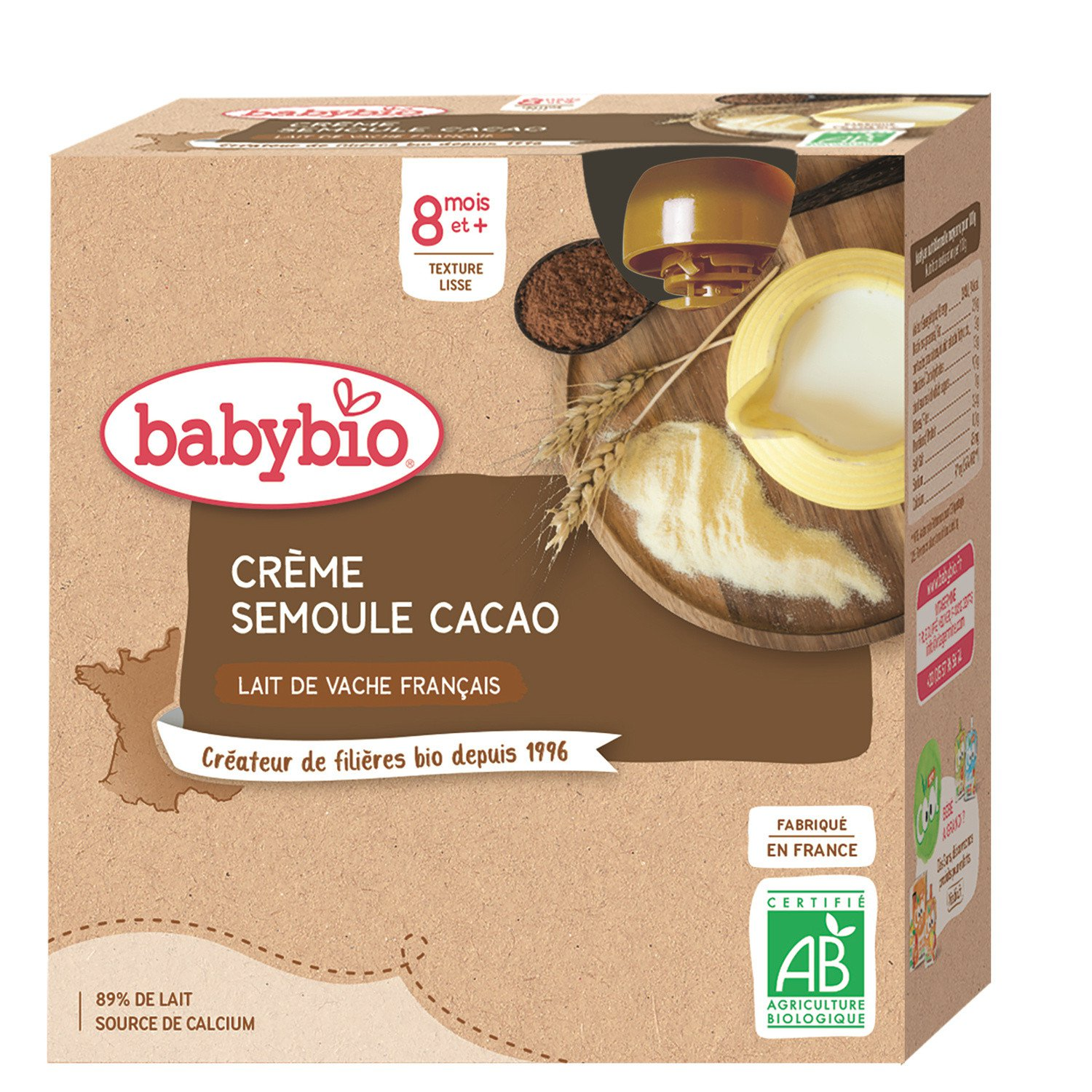 lot 3x4 Baby desserts from 8 months, BABYBIO cocoa semolina 85 gr
