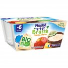 lot 3 x 4 Dessert baby dice 6 months Vegetable coconut milk apple pineapple P'TIT BRASSE 90 gr