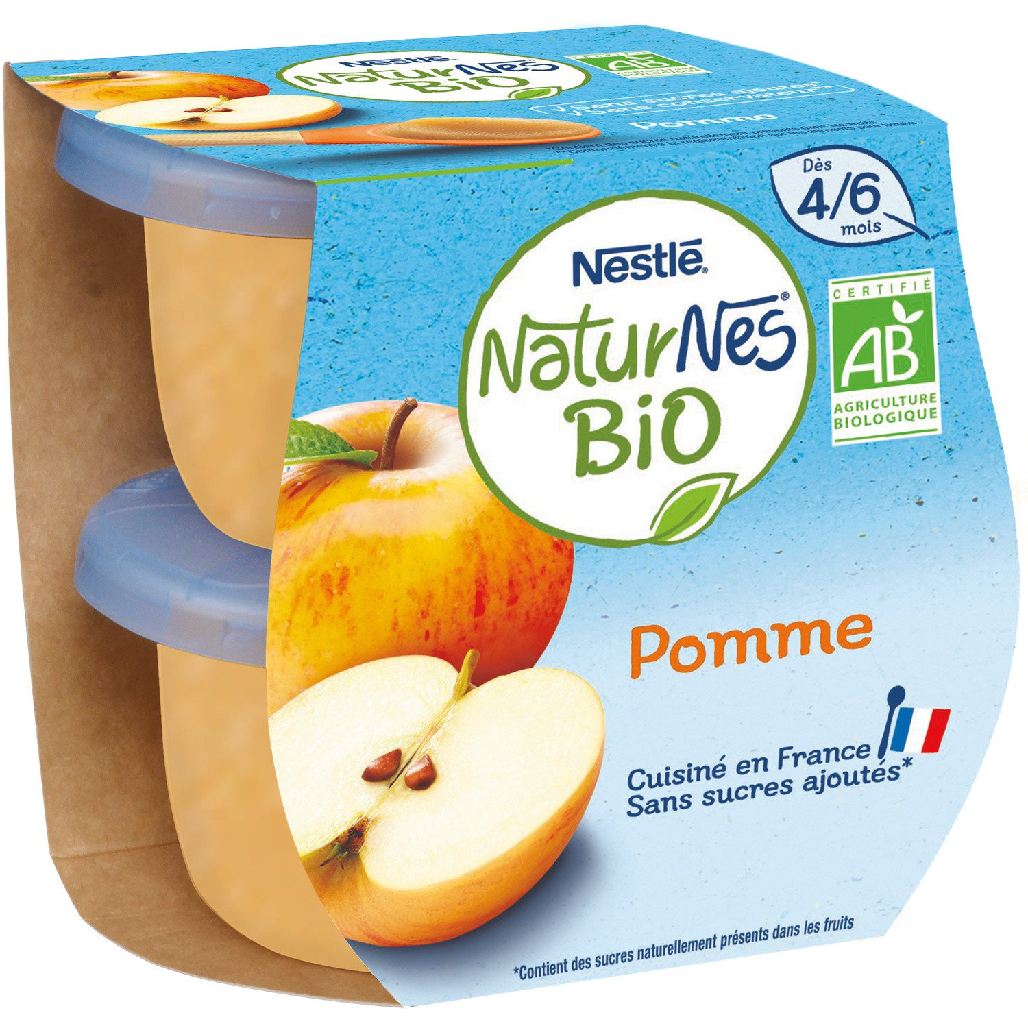 lot 3x2 Organic baby compotes from 4/6 months, apple without added sugar NATURNES 115gr