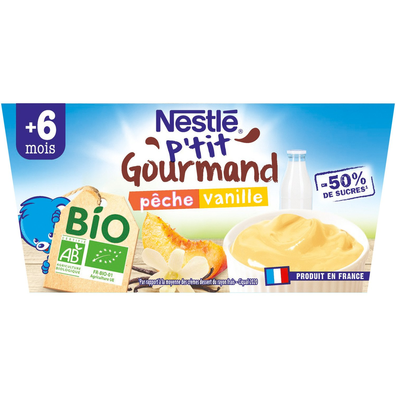 lot 3x4 Organic baby desserts peach & vanilla dice 8 months P'TIT GOURMAND 90 gr
