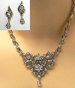 bridal pageant prom crystal necklace and earring set 744