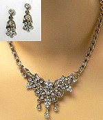 vintage inspired necklace set for bridal pageant and prom