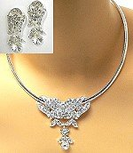 crystal on omega necklace set for prom bridal pageant
