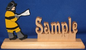 Handcrafted Wooden Name w/FREE Firefighter