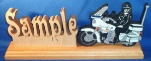 Handcrafted Wooden Name w/FREE Policeman on Motorcycle