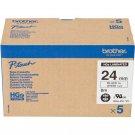 Brother HGe-251 24mm High Grade Laminated Tape Cassette (5pcs per pack) - Black on White #8264