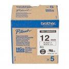 Brother HGe-231 12mm High Grade Laminated Tape Cassette (5pcs per pack) - Black on White #8262
