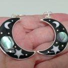 Abalone earrings, Silver plated earrings, Hook landscape earrings,moon and star earrings ,celestial