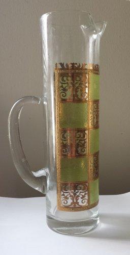 Vintage Mid Century Modern Culver Ltd 22kt.Gold Prado Green Decanter Glassware