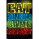 Gamers - Gaming Poster / Print (Eat & Sleep & Game & Repeat...)