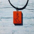 Mantra Hum Tibetan Buddhism Necklace Talisman Handmade Wood Burning Engraved Pendant