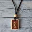 Rune Berkana Viking Scandinavian Necklace Talisman Handmade Wood Burning Engraved Pendant