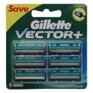 Gillette Vector Plus Manual Shaving Razor Blades (Cartridge) - Pack of 6