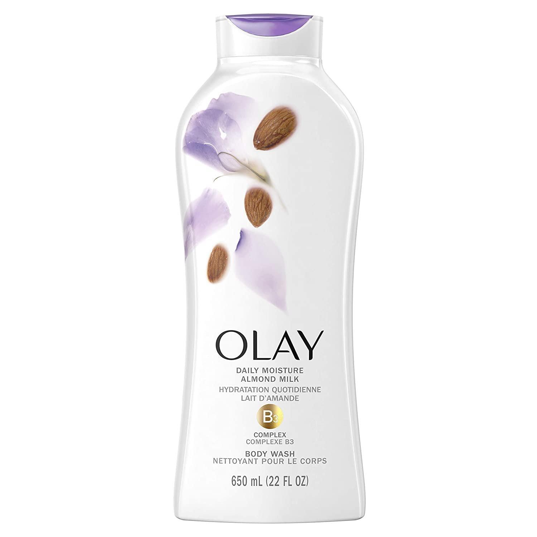 2 x Olay Hydrating Clean Almond Milk Body Wash, White, 650 ml