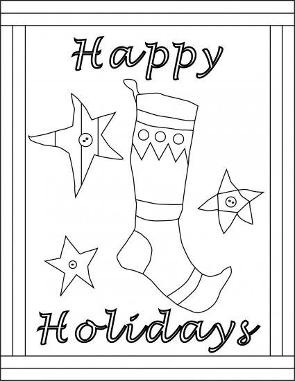 HAPPY HOLIDAYS rug hooking pattern -- Woolly Mammoth Woolens