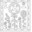 Strange Sunflowers rug hooking pattern -- Woolly Mammoth Woolens