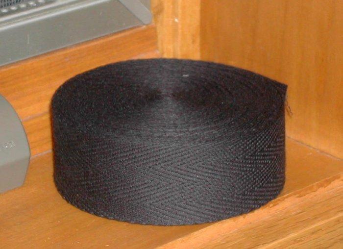 BLACK BINDING TAPE FOR RUG HOOKING, 10 yards -- Woolly Mammoth Woolens