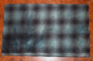 TURQUOISE BLUE PLAID overdye wool for rug hooking and penny rugs -- Woolly Mammoth Woolens