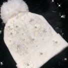 Handmade unique embroided beanie with lace flowers and crystals