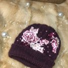 Purple beanie with pearls and extra quality lace