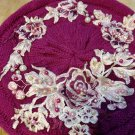 Pearl and lace stylish pink beret