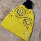 Yellow Handmade Beanie with Rhinestones
