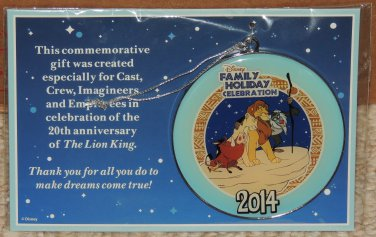 DISNEY 2014 Family Holiday Celebration Ornament Cast Member Exclusive THE LION KING Free Shipping