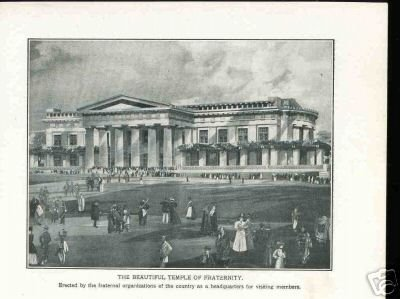 1900's Old Photo THE BEAUTIFUL TEMPLE OF FRATERNITY + Free Shipping
