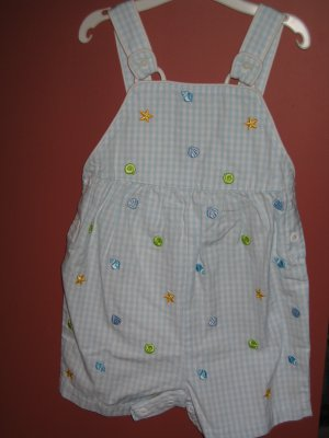 NWT Gymboree Splash gingham shortalls romper 18-24 new