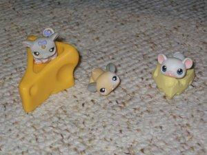 Littlest Pet Shop rat mouse cheese 115 116 white mouse 30