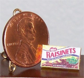 Dollhouse Miniature Chocolate Raisinets Candy Box 1:12