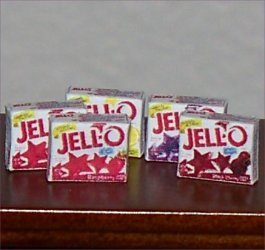 Dollhouse Miniature Jell-O Boxes (5) 1:12 Food Grocery