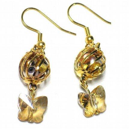 Cute Little Cage Holds Treasure Swarovski Butterfly Gold Earrings