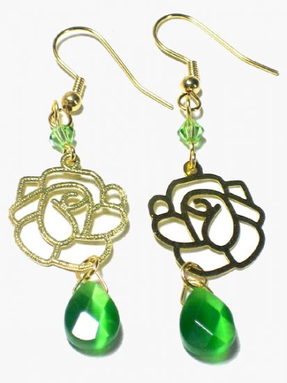 Green Swarovski Cats Eye Rose Gold Dangle Earrings