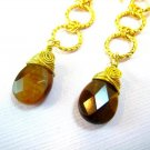 Tiger Eye Gold Twisted Ring Earrings