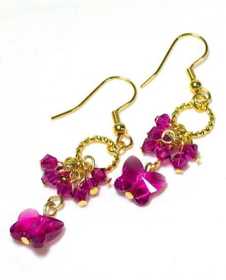 Lovely Fushia Swarovski Butterfly Gold Earrings