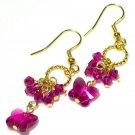 Lovely Fushia Swarovski Butterfly Gold Earrings