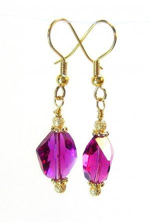 Pink Fuchsia Swarovski Cosmic Gold Earrings