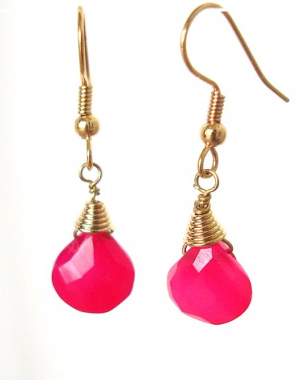 Pink Fuchsia Chalcedony Briolette Gold Dangle Earrings