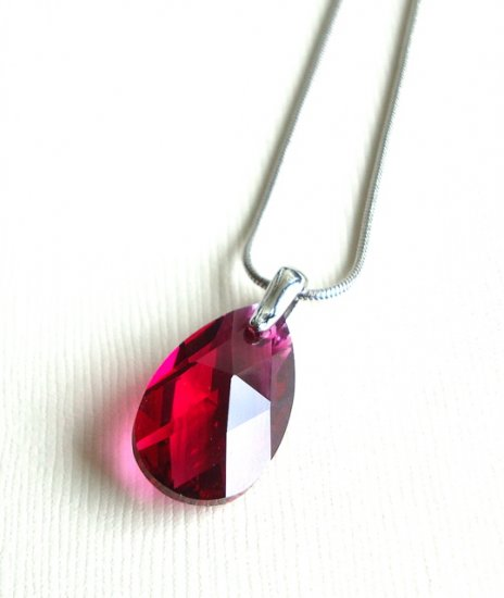 Ruby Swarovski Teardrop Silver Necklace