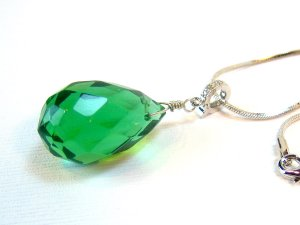 Green Quartz Silver Necklace