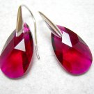 Ruby Swarovski Faceted Teardrop Silver Earrings