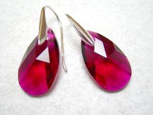 Ruby Swarovski Faceted Teardrop Silver Earrings