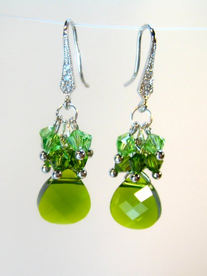 Green Swarovski Crystals Cluster Earrings