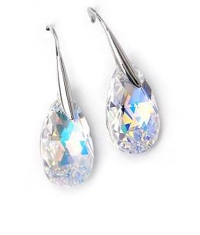 Clear AB Swarovski Faceted Teardrop Silver Earrings