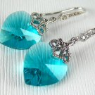 Blue Zircon Swarovski Crystal Heart Silver Earrings