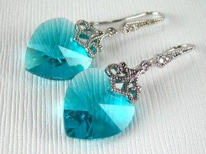 Blue Zircon Swarovski Crystal Heart Silver Earrings