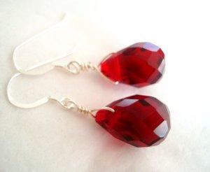 Red Garnet Quartz Simple Silver Earrings