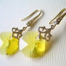 Yellow Octagon Swarovski Gold Dangle Earrings