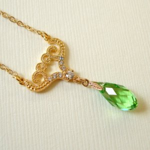 Green Peridot Swarovski Faceted Briolette with Luxury Cubic Gold Connector Necklace